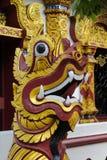 Qilin asian mythological guard statue in Thai temple. Qilin asian mythological guard statue in Thai Buddhist temple entrance, Thailand Stock Image