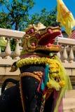 Qilin asian mythological guard statue in Thai temple. Qilin asian mythological guard statue in Thai Buddhist temple entrance, Thailand Royalty Free Stock Photos