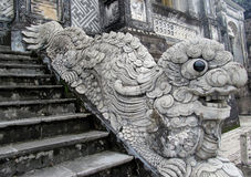 Qilin asian mythological statue. In the yard of Imperial Tomb of Emperor Khai Dinh. Chinese and vietnam ancient mythological magic creature. a mythical hooved stock images