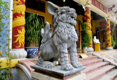 Qilin asian mythological statue. In the yard of pagoda. Chinese and vietnam ancient mythological magic creature. a mythical hooved chimerical creature in stock photo