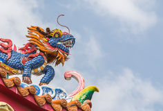 Qilin decoration on Chinese temple roof Royalty Free Stock Photography