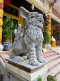 Qilin guardian statue in pagoda. Qilin asian stone mythological statue in the yard. Chinese and vietnam ancient mythological magic creature. a mythical hooved Stock Photos