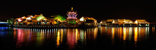 Qilitang,suzhou,China. Night scene for old style building in Qilitang,suzhou,China. Qilitang is famous place in suzhou.Four shots and merge in photoshop Stock Photos
