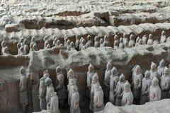 Qin Terracotta Warriors och hästar Royaltyfri Bild