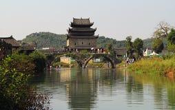 Qing dynastia w Ming dynastii okresie Porcelanowi Antyczni budynki wioska Zdjęcie Royalty Free