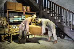 Qing Dynasty dockers  in China History Wax Museum. Qing Dynasty Historical wax museum in Guangzhou city Guangdong Province China Asia  In Qing Dynasty, Huangpu royalty free stock photography
