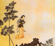 Qing Ren Xiong Classical woman painting Royalty Free Stock Image