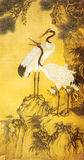 Qing Shen Quan Pine and crane painting Royalty Free Stock Photography