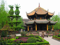 Qing Yang Gong Temple (grön getslott), Chengdu, Kina arkivbilder