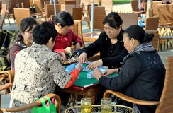 Qingbaijian, China: Women Playing Mahjong Stock Images