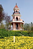 Qingbaijiang, China: Pagoda Hill & Chrysathemums Stock Image