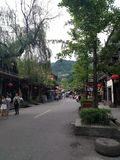 Qingcheng Ancient Town, people on the streets of Guzhen royalty free stock images