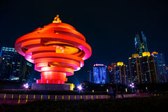 Qingdao, China, 22-09-2015. 4th May square (Wu Si Guangchang). Is a popular tourist attraction in Qingdao and is beautifully lighted at night Royalty Free Stock Images