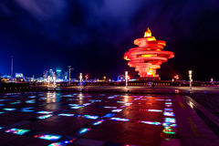 Qingdao, China, 06-08-2016. 4th May square (Wu Si Guangchang). Is a popular tourist attraction in Qingdao and is beautifully lighted at night Stock Photography