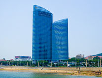 Qingdao city office buildings. Qingdao city urban office buildings near the sea in Shandong province China Royalty Free Stock Images