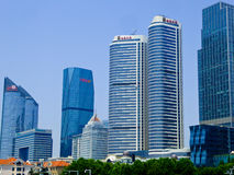 Qingdao city office buildings. Qingdao city urban office buildings view in Shandong province China Royalty Free Stock Images