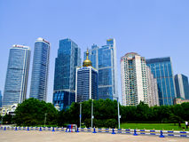 Qingdao city office buildings. Qingdao city urban office buildings view in Shandong province China Royalty Free Stock Photo