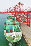 Qingdao-Hafen-Containerbahnhof Stockbilder