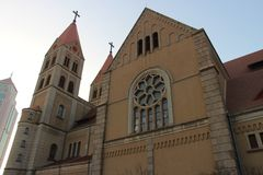 Qingdao katolsk kyrka arkivbilder