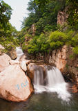 Qingdao laoshan chaoyin sault landscape in China. The tourists in China Qingdao laoshan scenic spot the cascades Stock Photos