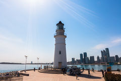 Qingdao Olympic sail center - lighthouse. It is towering in the Qingdao Olympic sail center Valentine`s Dam at the end, is the youngest lighthouse, tower height Royalty Free Stock Photos