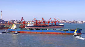 Qingdao port, China 20-ton iron ore terminal Royalty Free Stock Image