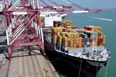 Qingdao Port Container Terminal Royalty Free Stock Photo
