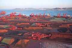 Qingdao Port iron ore terminal Royalty Free Stock Photography