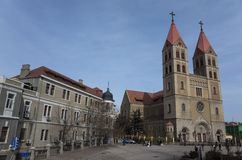 Qingdao scenery. St. Michael's Cathedral Catholic church of Qingdao(TSINGTAO) , is a famous tourist and sea port city in Shandong province on the yellow sea royalty free stock photo