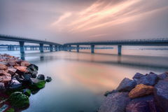 Qingdao sea-crossingbro Royaltyfri Bild