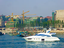 Qingdao sea sightseeing boats. Tourists taking yacht boating on Qingdao sea in Shandong province China Stock Images