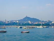Qingdao sea sightseeing boats. Tourists taking yacht boating on Qingdao sea in Shandong province China Stock Photos