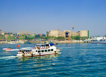 Qingdao sea sightseeing boats. Tourists taking yacht boating on Qingdao sea in Shandong province China Royalty Free Stock Photos