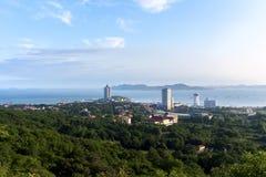 Qingdao seashore scenery in China. In Qingdao, the peak overlooking huiquan bay Royalty Free Stock Image
