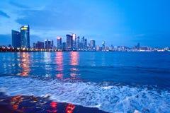 Qingdao skyline. At night, China Royalty Free Stock Photo