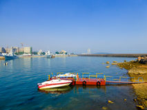Qingdao speedboats dock. Qingdao yacht dock with ships parked on the sea in Shandong province China Stock Photos