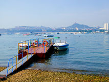 Qingdao speedboats dock. Qingdao yacht dock with ships parked on the sea in Shandong province China Stock Images