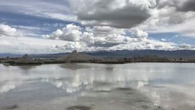 Qinghai Chaka Salt Lake Water and Sky are in one color royalty free stock photo