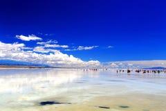 Qinghai Chaka Salt sjölandskap royaltyfri fotografi