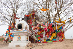 QINGHAI, CHINA - April 03 2015: Taktser village. The village of Royalty Free Stock Photo