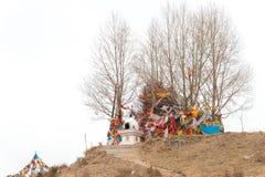 QINGHAI KINA - April 03 2015: Taktser by Byn av Fotografering för Bildbyråer