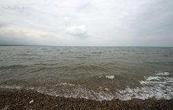 The Qinghai lake in china. Gloomy weather of Qinghai Lake in china Royalty Free Stock Photos