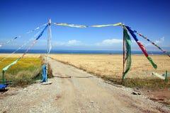 Qinghai Lake scenery. Tibetan prayer flags at lakeshore of Qinghai Lake, China Stock Photo