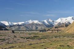 Qinghai-Tibet railway and snow moumtain Stock Image