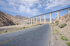 Qinghai-Tibet railway and  trafficway Stock Photography