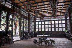 Qinghui Garden. Interior of ancient big hall of china traditional house, Qinghui garden(QingHuiYuan), Shunde district, Foshan city, Canton Province, China Stock Image