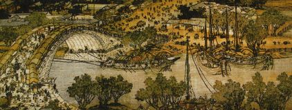 Qingming shanghetu. Along the River During the Qingming FestivalRiverside Scene at Qingming Festival stock illustration