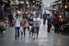 Qingyan古老城镇街道场面 图库摄影
