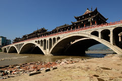 Qingyi River under the sun. Very nice weather,blue sky and beautiful Gallery bridge Royalty Free Stock Images