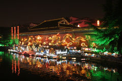 Qinhuai River. And Dragon wall at night Stock Photos